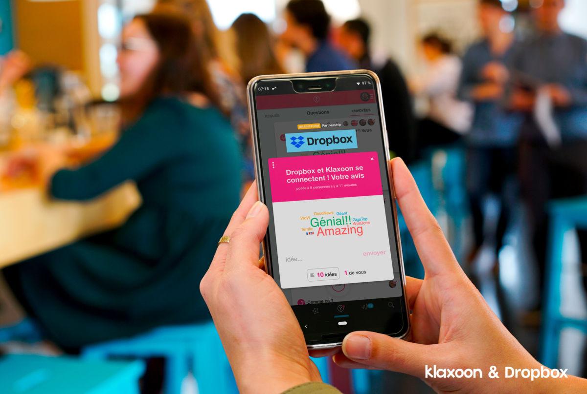Klaxoon et Dropbox se connectent
